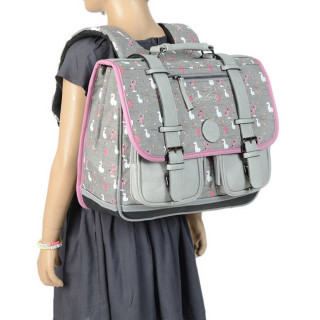 Caméléon Vintage Print Girl Cartable 38cm Grey Lama