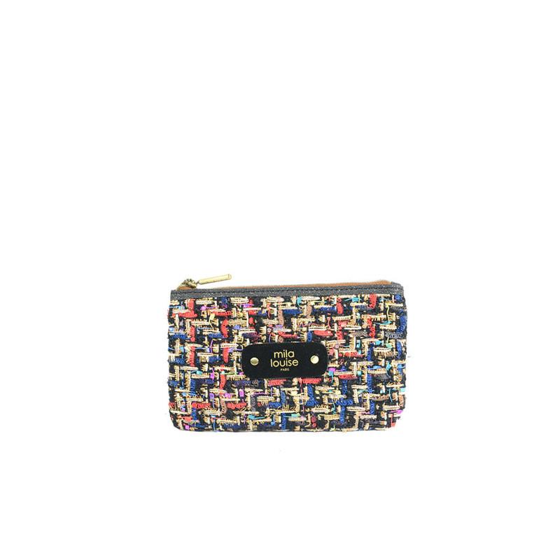 Mila Louise Poch Tweed PM Porte monnaie Noir