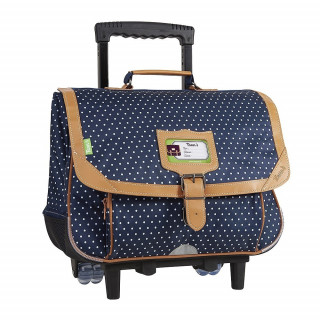 Tann's Chic Filles Cartable Trolley 38cm Pois Indigo