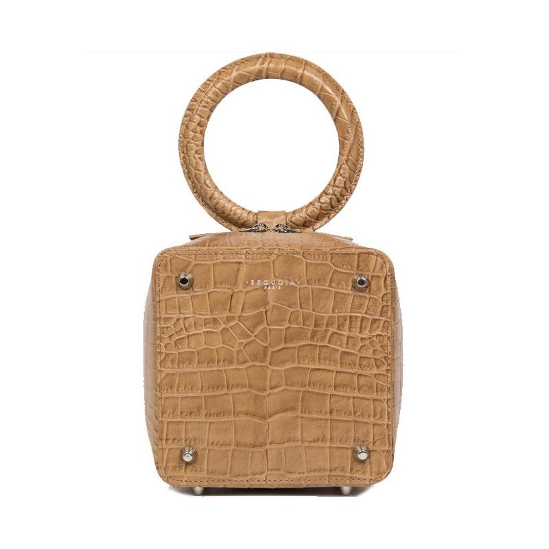 Sequoia Sweet Cube Croco Petit Sac Boîte Poignée Camel