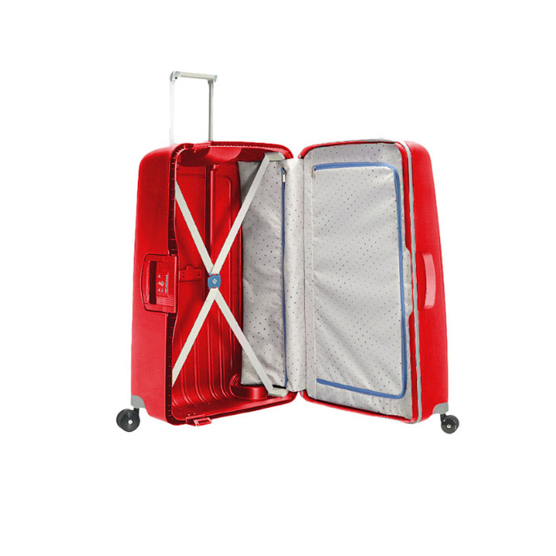 Samsonite S'Cure Spinner 69 cm Valise Trolley 4 Roues  Rouge Cramoisi  ouvert
