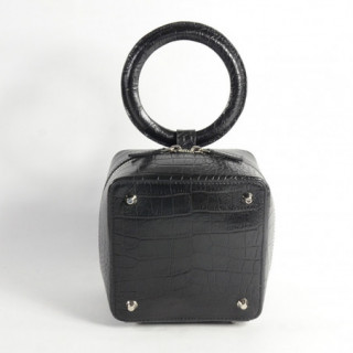 Sequoia Sweet Cube Croco Petit Sac Boîte Poignée Noir dos