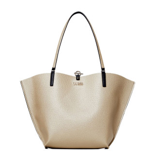 Guess Alby Sac Shopping et Pochette Réversible 2 en 1 Or Multi