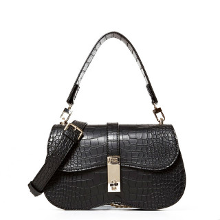 Guess Asher Sac Epaule Croco Noir