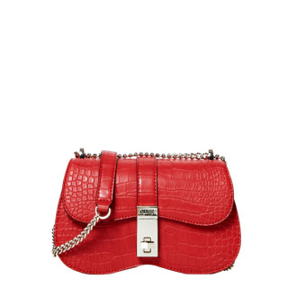 Guess Asher Croco Shoulder Bag Red