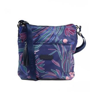 Lancaster Basic Pompon Shoulder Bag 514-37 Blue Flowers