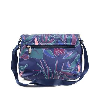 Lancaster Basic Pompon Shoulder Bag 514-91 Blue Flower