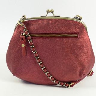 Mila Louise Poe Vinci Sac Vintage de Soirée Fermoir Boules Rouge Foncé