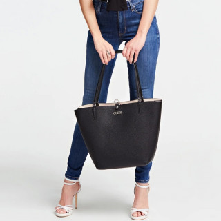 Guess Alby Sac Shopping et Pochette Reversible 2 en 1 Black Stone