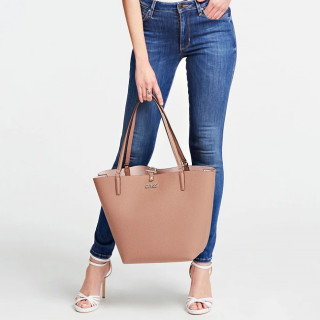 Guess Alby Sac Shopping et Pochette Reversible 2 en 1 Taupe Blush