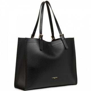 Lancaster Foulonne Double Grand Grand Bag Cabas 470-30 Black In Nude