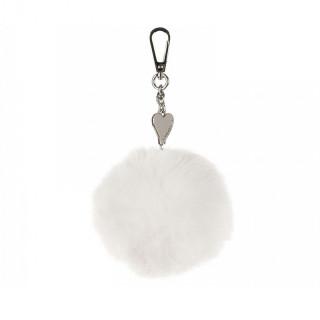 Lancaster Bijoux de Sacs Pompon Boule Blanc
