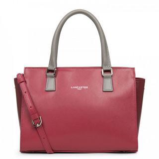 Lancaster Saffiano Timeless Handbag Bag 421-41 Raspberry Bordeaux Grey