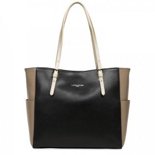 Lancaster Saffiano Timeless Shopping Bag 421-56 Black Vison Champagne