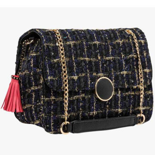 Lollipops Gossip Grand Sac Bandoulière Tweed Noir doré cote
