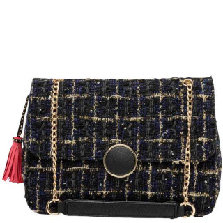 Lollipops Gossip Grand Sac Bandoulière Tweed Noir doré