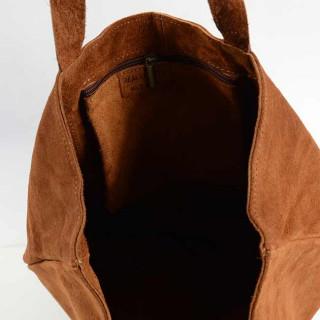 Farfouillette Sac Cabas Croute de Cuir Camel