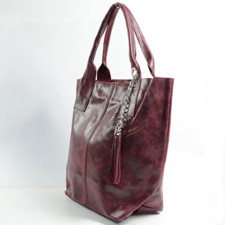 Farfouillette Bordeaux Leather Cabas Bag