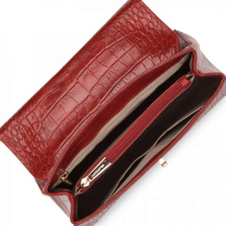 Lancaster Exotic Croco Sac A Main 524-47 Rouge ouvert