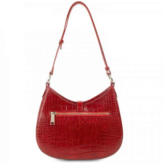 Lancaster Exotic Croco Sac Besace 524-49 Rouge dos