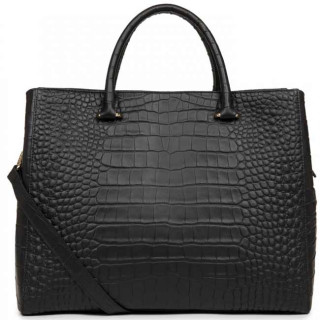 Lancaster Exotic Croco Souple 524-73 Grand Sac Cabas Noir