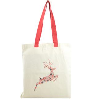Farfouillette Christmas Tote Bag Natural Reindeer Tote Bag
