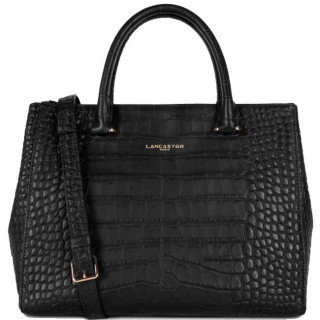 Lancaster Exotic Croco Souple 524-71 Sac A Main Noir