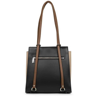 Lancaster Constance Shoulder Bag and Backpack 437-21 Black Nude Vison