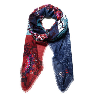 Desigual Foulard Rectangulaire Double Imprimé Blue Moon