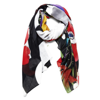 Desigual Foulard Rectangle Double Imprimé Fleurs Jet Black