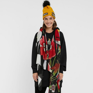 Desigual Rectangle Double Printed Jet Black Flowers Scarf