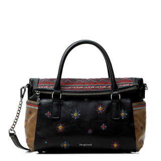 Desigual Loverty Ka Sac Porté Main Broderies Boho Negro