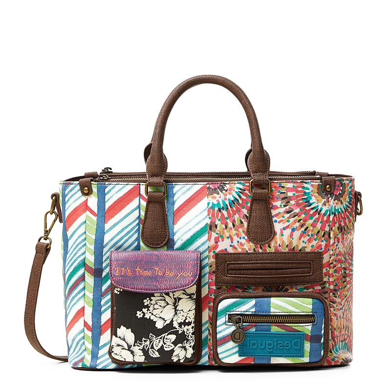 Desigual Safi Sac Shopping Multi-Imprimé Patches Verde Agua