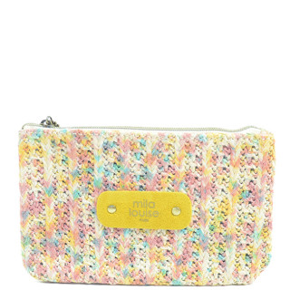 Mila Louise Poch Tweed PM Porte monnaie Rose