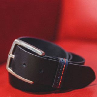 Serge Blanco Black Leather Belt