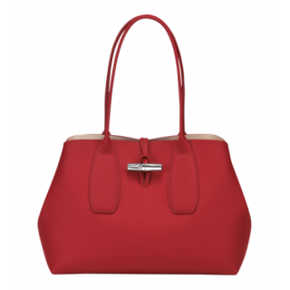 Longchamp Red Shopping Roseau