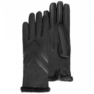 Isotoner Women's Gloves Doubled Compatible Black Touch Screens