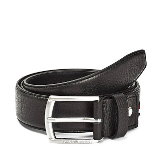 Tommy Hilfiger Black Grained Leather Finish Adjustable Belt