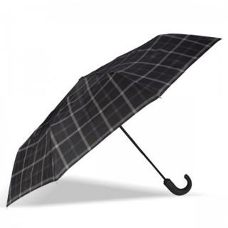Isotoner Umbrella Men Handle Automatic Fold X-TRA Solid Black Tiles