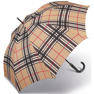 Happy Rain Parapluie Femme Canne Automatique Checks Camel