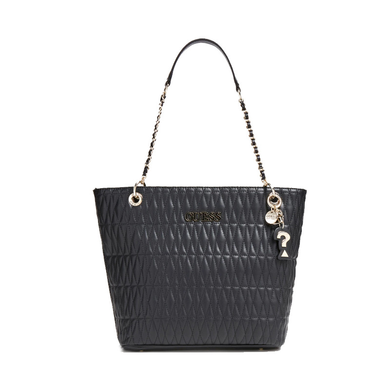 Guess Brinkley Sac Shopping Surpiqué Black