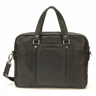 Arthur & Aston Johany Black Leather Briefcase