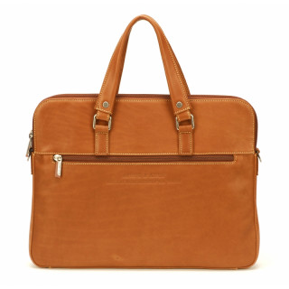 Arthur & Aston Johany 2 compartment Slim Briefcase Leather Cognac