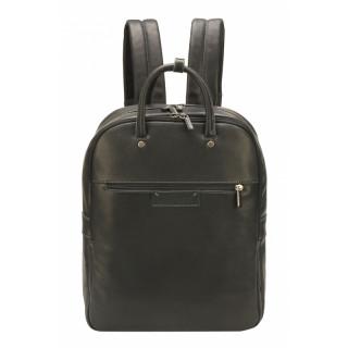 Arthur & Aston Johany Black Leather Backpack