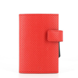 Ogon Cascade Wallet Porte Leather Cards Vegan Traforato Red