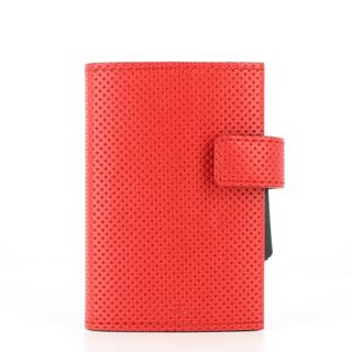 Ogon Cascade Wallet Porte Leather Cards Vegan Traforato Red