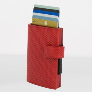 Ogon Cascade Wallet Porte Cartes Cuir Vegan Traforato Red
