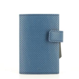 Ogon Cascade Wallet Porte Cartes Cuir Vegan Traforato Blue