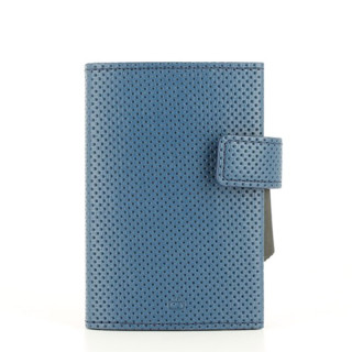 Ogon Cascade Wallet Porte Leather Cards Vegan Traforato Blue
