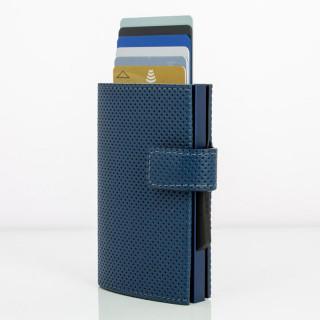 Ogon Cascade Wallet Porte Leather Cards Vegan Traforato Blue